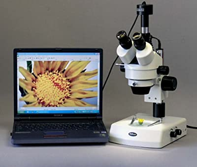 Amscope SM-2TZ-M Digital Professional Trinocular Stereo Zoom Microscope, WH10x Eyepieces, 3.5X-90X Magnification, 0.7X-4.5X Zoom Objective, Upper and Lower Halogen Lighting, Pillar Stand, 110V-120V, Includes 0.5X and 2.0X Barlow Lenses and 1.3MP Camera wi