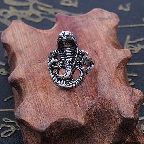 MIXIA Retro Punk Exaggerated Spirit Cobra Snake Ring Fashion Animal Personality Stereoscopic Opening Adjustable Ring