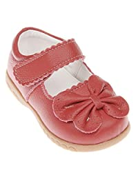 Bumud Little Girls Genuine Leather Front Bow Mary Jane Dress Ballet Flat Shoes
