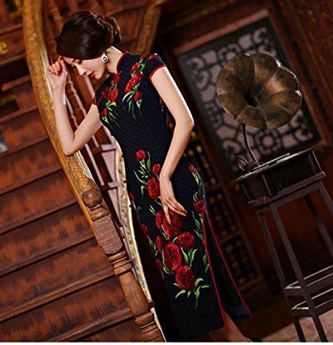 Blu scuro YueLian Fiori Vestito Griglia Tradizionale con Cinese 0H7wqY