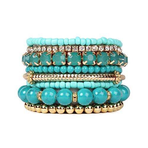 RIAH FASHION Multi Color Stretch Beaded Stackable Bracelets - Layering Bead Strand Statement Bangles ([S-M] Turquoise)