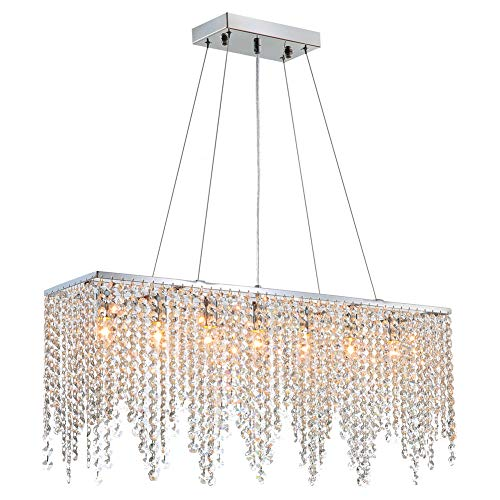 7PM Modern Linear Rectangular Island Dining Room Crystal Chandelier Lighting Fixture (Medium L32)