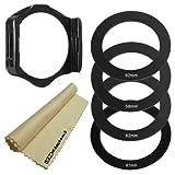 Adapter Ring Set (58MM, 52MM, 62MM, 67MM) & Filter Holder for COKIN P Series + Super Fine JB Digital Microfiber Lens Cleaning Cloth