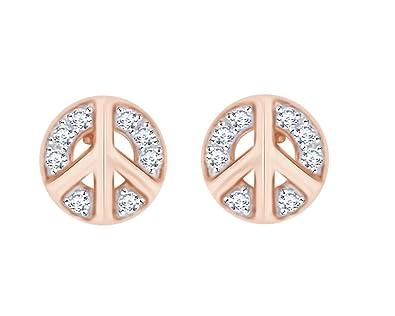 e455418e7cd Amazon.com: Round Cut White Natural Diamond Accent Peace Sign Design ...