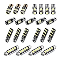 Justech 22pcs Can-Bus Error Free LED SMD Bulbs Kit Set 6000k Spare Parts Festoon C5W T10 168 194 2825 W5W for Car Interior Dome Map Door Courtesy Trunk License Plate Lights - Xenon White