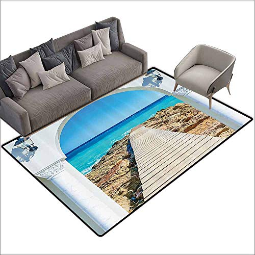 Large Floor Mats for Living Room House Decor,View from an Open Window Curve On The Sea with A Quay Wooden Coastline 48