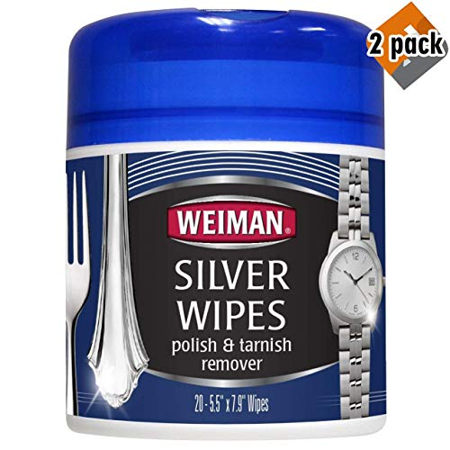 Silver Wipes - Jewelry Wipes - Cleaner and Polisher for Silver Jewelry Sterling Silver Silver Plate and Fine Antique Silver - 20 Count - Ammonia Free - 2-Pack