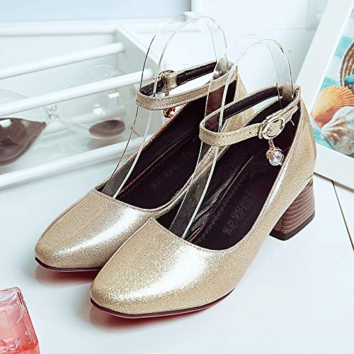 Ankle Patent Strap Toe ZHZNVX Chunky Wine Heels Spring Buckle Black amp; Crystal Silver Wine Women's Leather Shoes Fall Heel Square q8pw0Epg