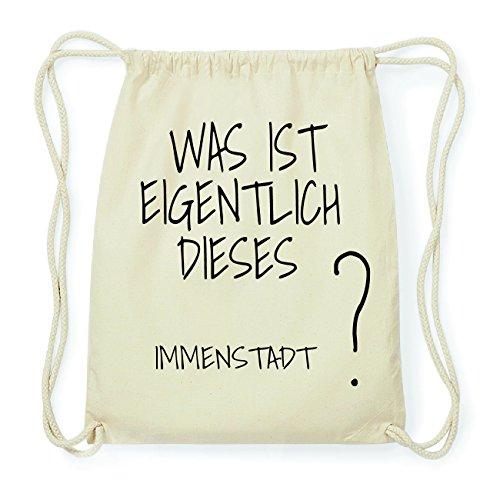 JOllify IMMENSTADT Hipster Turnbeutel Tasche Rucksack aus Baumwolle - Farbe: natur Design: Was ist eigentlich