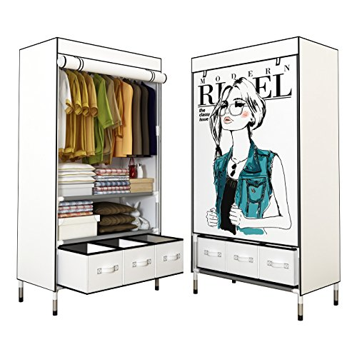 ASSICA Portable Clothes Closet for Girls Rolling Door Wardrobe Sturdy Rust-Proof Stainless Steel Frame Non-Woven Fabric Storage Organizer with Three Drawer Boxes (White)