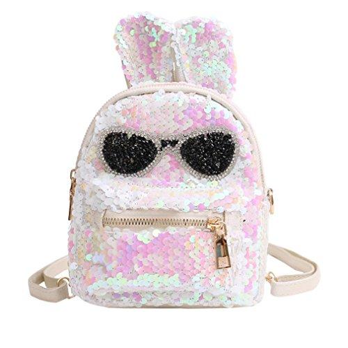 (Inverlee Fashion Girls Sequins Shoulder Bag Student Children School Bag Travel Backpacks (White))