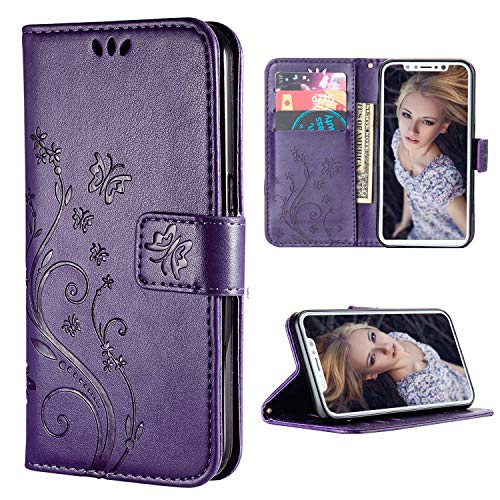 iPhone Xs Max Case, iPhone Xs Max Wallet Case,FLYEE Flip Case Wallet Leather [Kickstand] Emboss Butterfly Flower Folio Magnetic Protective Cover with Card Slots for iPhone Xs Max 6.5 inch Purple