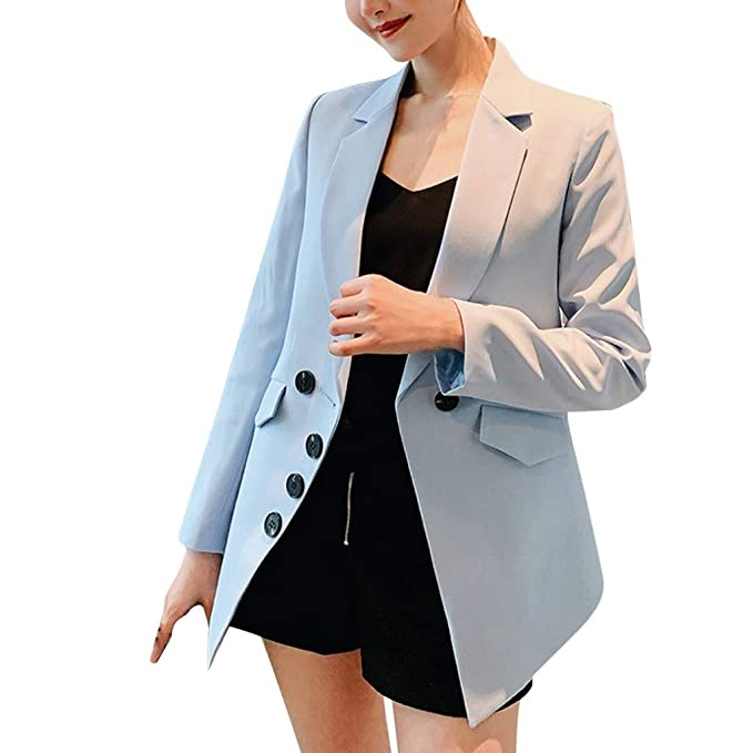 MXJEEIO 💖 Mujer Manga Larga Blazer, Moda Color Sólido Slim ...
