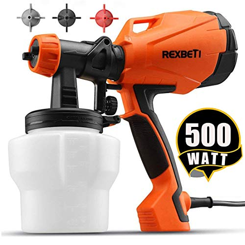 REXBETI Ultimate-750 Paint Sprayer, 500 Watt High Power HVLP Home Electric Spray Gun, 3 Nozzle Sizes, Lightweight, Easy Spraying and Cleaning, Perfect for Beginner (Containers Output)