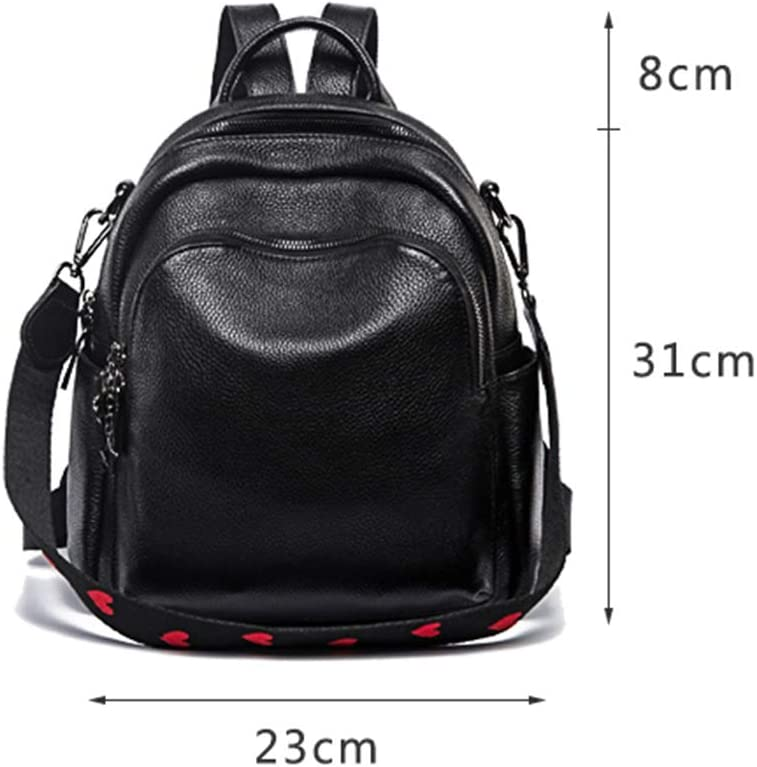 KIMSAI Simple Trend Light Travel Bag Leather Bag with one Shoulder and Two Leather Backpacks Light Outdoor Simple Casual Student Bag Multifunctional Backpack,Black,231131CM