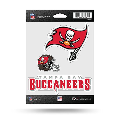 Tampa Bay Buccaneers Car (NFL Tampa Bay Buccaneers  Triple Spirit Stickers, Red, White, Grey, 3 Team Stickers)