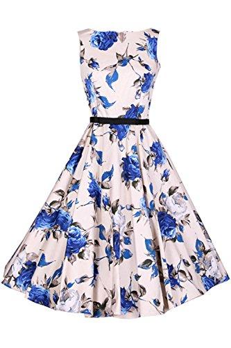 Azbro Vestido A-línea Diseño sin Mangas Estampado Floral,azul XL