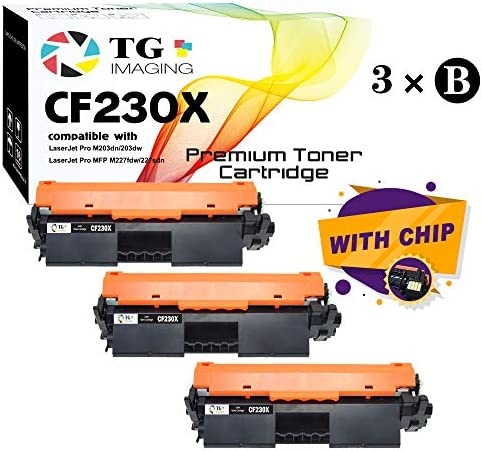 (New Chip, 3-Pack) Compatible High Page Yield 30X CF230X Ton