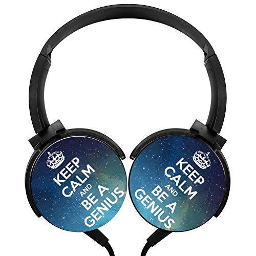 (Wired Stereo Headphone Keep Calm and Be A Genius Noise Cancelling Over Ear Headphones with Microphone Portable Headset Earphone Earpiece)