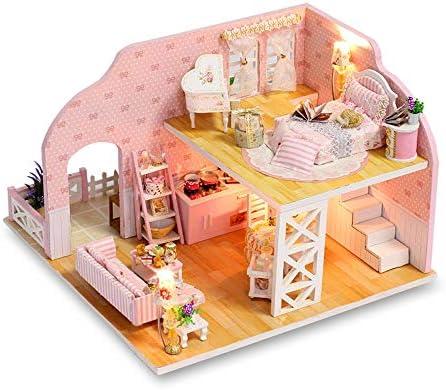 DIY 3D Dollhouse Wooden Children Toy Handmade Doll House Furniture Kit Kids Gift
