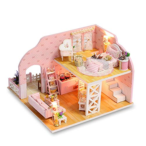 Toys-Sinohomie Dollhouse DIY House Kit Creative Room with Furniture Cover for Romantic Artwork Birthday Present Balcony, Piano, Telescope, Bathroom, Bathtub, Pool, Two-Story Princess Room (Blue)