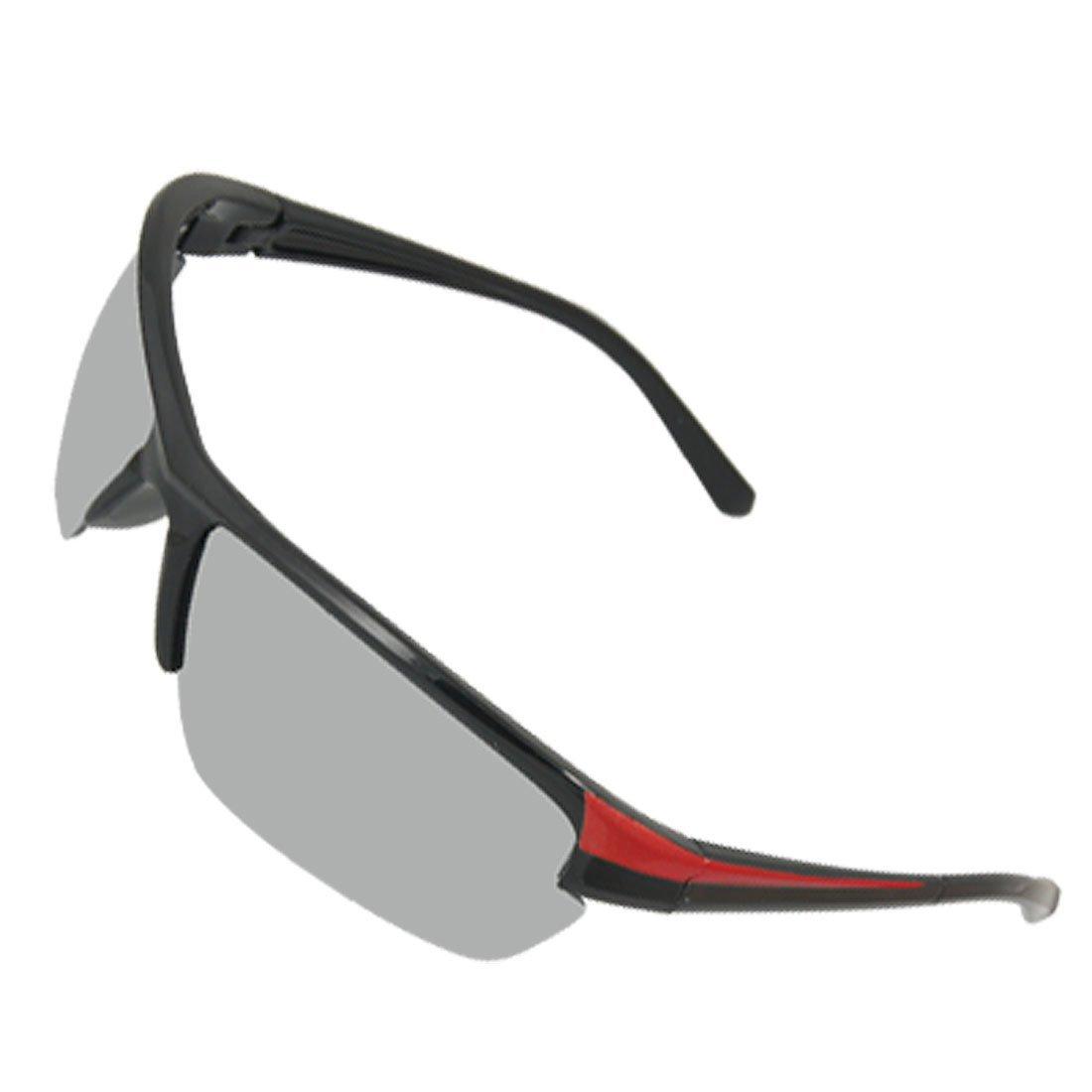 Semi Mirror Rim Lens Noir Rouge Unisexe Sport Sunlasses