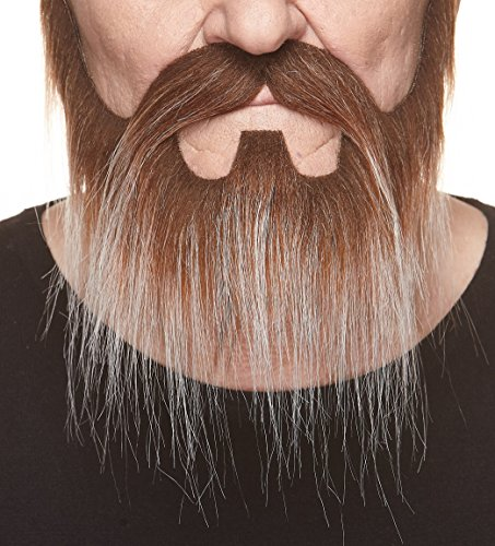 Mustaches Self Adhesive, Novelty, Nomad Fake Beard and Fake Mustache, False Facial Hair, Costume Accessory for Adults, Brown with Gray Color -