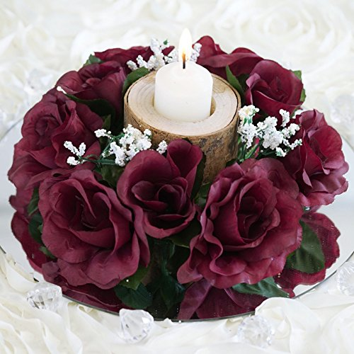 - BalsaCircle 8 Burgundy Silk Roses Candle Rings - Artificial Flowers Wedding Party Centerpieces Arrangements Bouquets