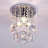 Cheap 1-Light Mini Chic Crystal Chandeliers Flush Mount Crystal Chandelier Light Ceiling Lamp Light Rain Drop Pendant For Living Room, Hallway, Kitchen, Dining Room, Kids Room