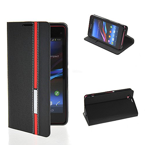Z1 Compact Case, GETLAST [Black Red] Stylish Folio Case Magnetic Closure Wallet Flip Cover for Sony Xperia Z1 Compact D5503