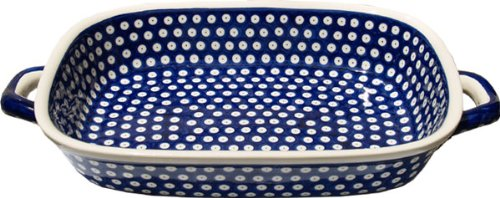 Polish Pottery Baking Dish with Handles From Zaklady Ceramiczne Boleslawiec #1345-42 Classic Pattern, Depth: 2.5