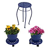 Sunnydaze 5-Piece Cast Iron Planter, Rolling Caddy and Plant Stand Set, Indoor or Outdoor, Dark Blue