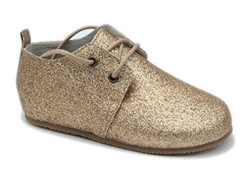 Image of MiniStyleFinds Leather Oxford for Infants and Toddlers, US 8 Toddler Gold Sparkle