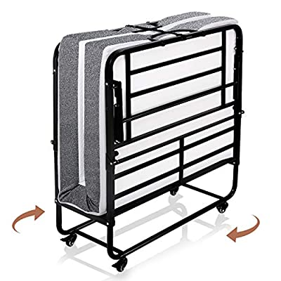 Smile Back Foldable Folding Bed with Mattress, Rollaway Guest Bed Portable Twin Size Bed Frame for Adults, 5 inch Memory Foam Mattress, Extra Bed for Guest on Wheels, No Tools Required