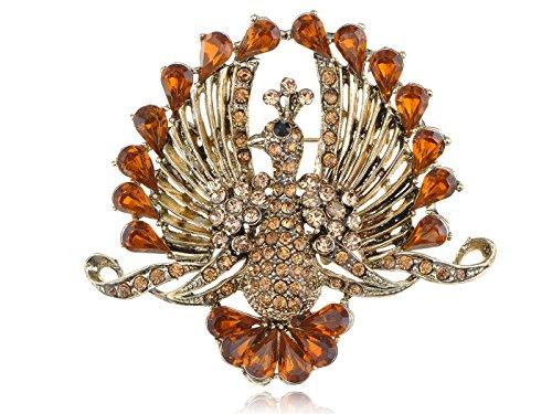 Peachick Costume (Alilang Smoked Topaz Crystal Rhinestone Tail Peacock Bird Fashion Jewelry Pin Brooch)