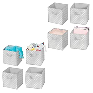 mDesign Soft Fabric Closet Storage Organizer Bin Box - Front Handle, for Cube Furniture Shelving Units Bedroom, Nursery, Toy Room - Polka Dot Print - Small, 8 Pack - Gray/White