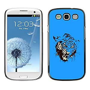 GagaDesign Phone Accessories: Hard Case Cover for Samsung Galaxy S4 - Blue Fierce Tiger Attack