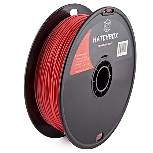 New HATCHBOX Performance PLA 3D Printer Filament, Dimensional Accuracy +/- 0.03 mm, 1 kg Spool, 1.75 mm, Red free shipping