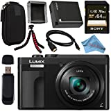 Panasonic Lumix DC-ZS70 DC-ZS70/K Digital Camera (Black) + DMW-BLG10 Lithium Ion Battery + Sony 64GB SDXC Card + Small Carrying Case + Flexible Tripod + Micro HDMI Cable + Memory Card Wallet Bundle