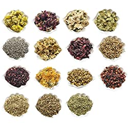 PEPPERLONELY 15 Packs Organic Kosher Certified Botanical Dried Edible Flowers & Herbs Sampler Kit - Lavender, Rose Buds & Petals, Chamomile, Calendula, etc