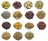 PEPPERLONELY 15 Packs Organic Kosher Certified Botanical Dried Edible Flowers & Herbs Sampler Kit – Lavender, Rose Buds & Petals, Chamomile, Calendula, etc For Sale
