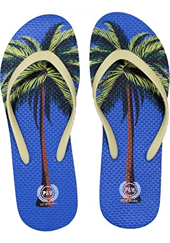 Beaute Fashion Trendy Tropical Print Flip Flops Desert Resort Travel Thong Sandal Slipper (X-Large 11, Blue Palm (Palm Tree Slipper)