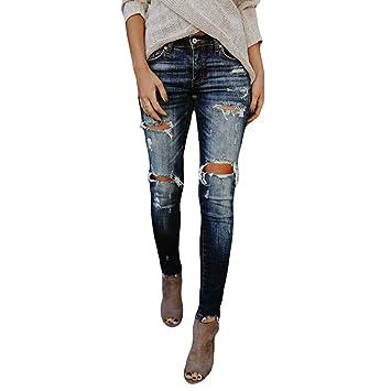 c89742b4a69a Ansenesna Hosen Damen Jeans High Waist Skinny Löcher Lang Elastische ...