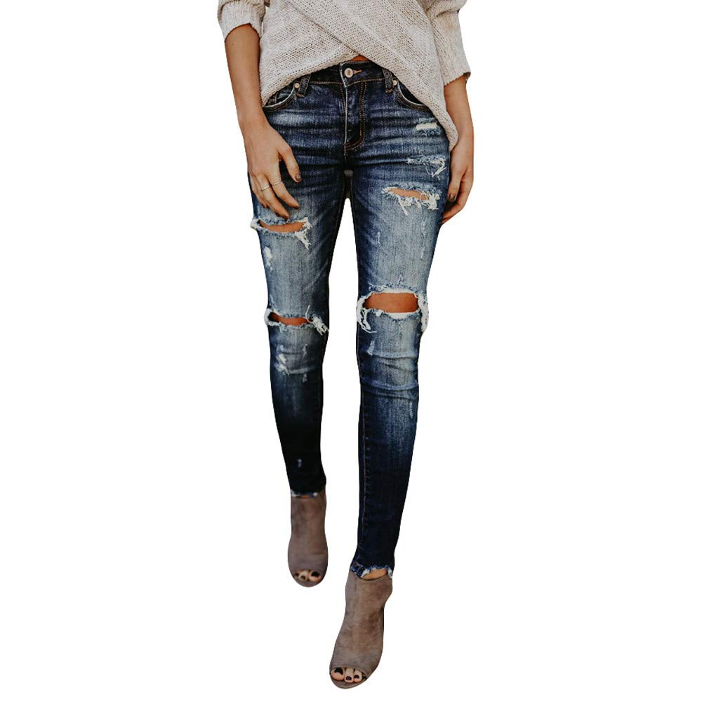FIRERO Hight Waisted Hole Jeans Womens Ladies Denim Ripped Skinny Stretch Slim Pants Calf Length Jeans Trousers