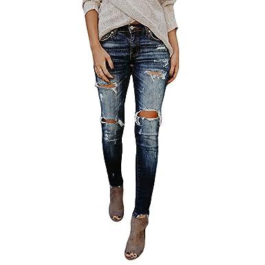 375096246551 LHWY Damen Hosen Winter, Frauen High Waisted Skinny Loch Denim Jeans  Stretch Slim Hosen Mode Vintage Kalb Länge Schwarz