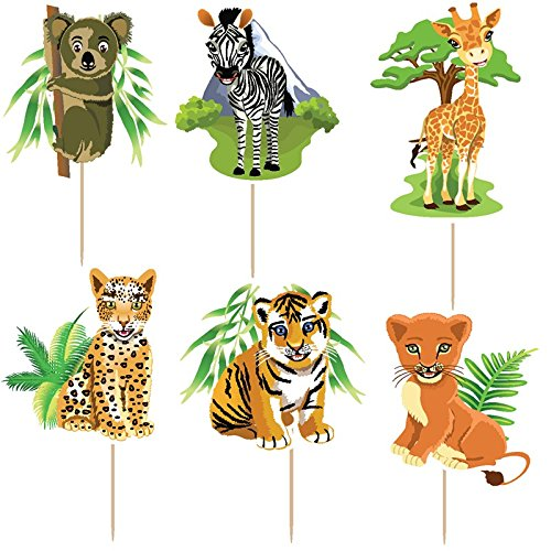 72pcs 6 designs jungle forest animal cake Toppers Picks Kid's birthday party decorations party supplies favors children gifts by Areena Shop