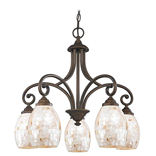 Chandelier with Beige / Cream Glass in Bronze Finish - Beaumont Ceiling Chandelier
