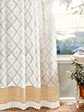 Saffron Marigold – Vanilla Glace – White and Gold Romantic Elegant Luxury Hand Printed – Sheer Cotton Voile Curtain Panel – Tab Top or Rod Pocket – (46″ x 63″)
