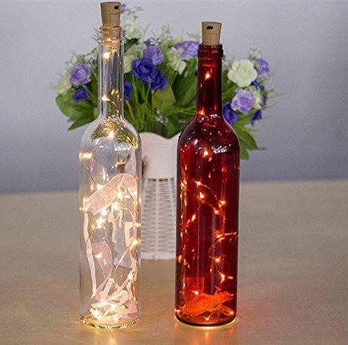 3 pieza LED Botella Luz ánimo luces, 2 M 20 LED blanco cálido cadena de luces LED Botella Luz, ideal para DIY, Fiesta, Navidad, Halloween, boda: Amazon.es: ...