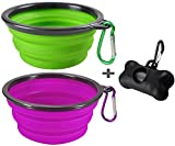 MOGOCO 2 Pack Large Portable Collapsible Dog Bowl,Foldable Travel Bowl Dish for Pet Dog Cat Food Water Feeding,Including a Black Poop Bag Holder Dispenser and a Roll of Bags (Purple and Green)